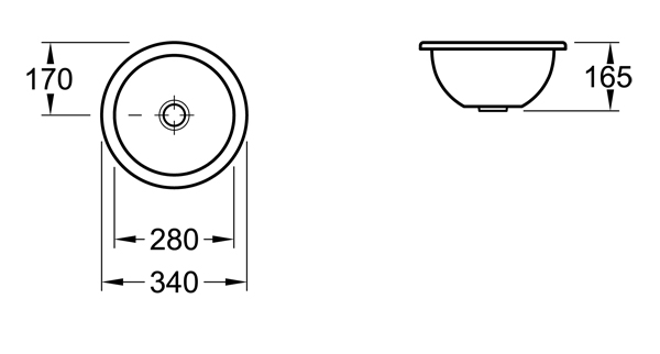Loop Round Under-Counter Basin 340mm