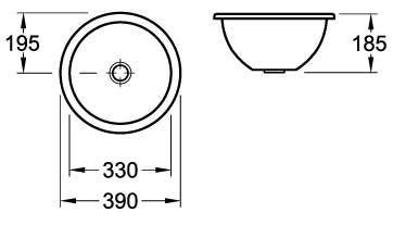 Loop Round Under-Counter Basin 390mm