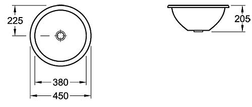 Loop Round Under-Counter Basin 450mm