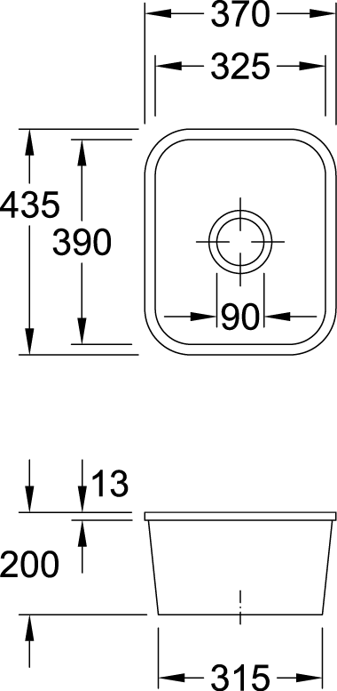 Cisterna 45 1/2 Bowl Undercounter Sink