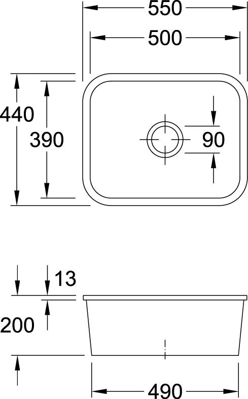 Cisterna 60C Undercounter Sink