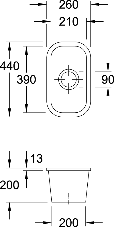 Cisterna 26 1/3 Bowl Undercounter Sink