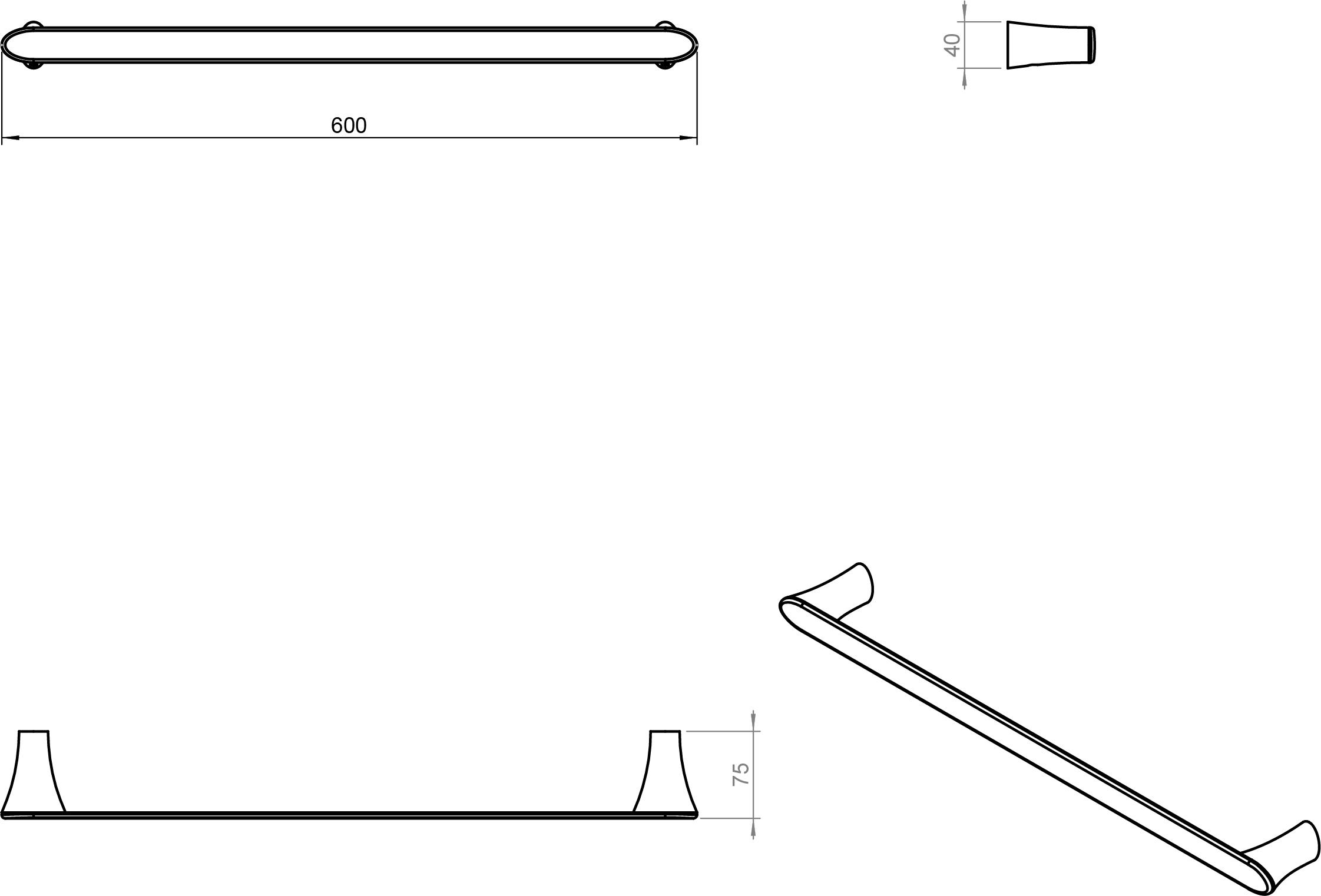 Belle Towel Rail (600mm)