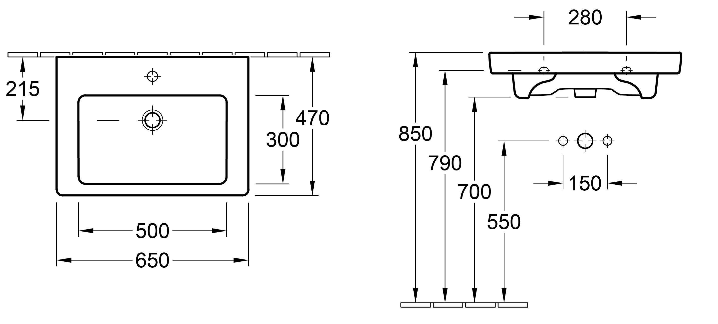 Subway 650 Wall Basin