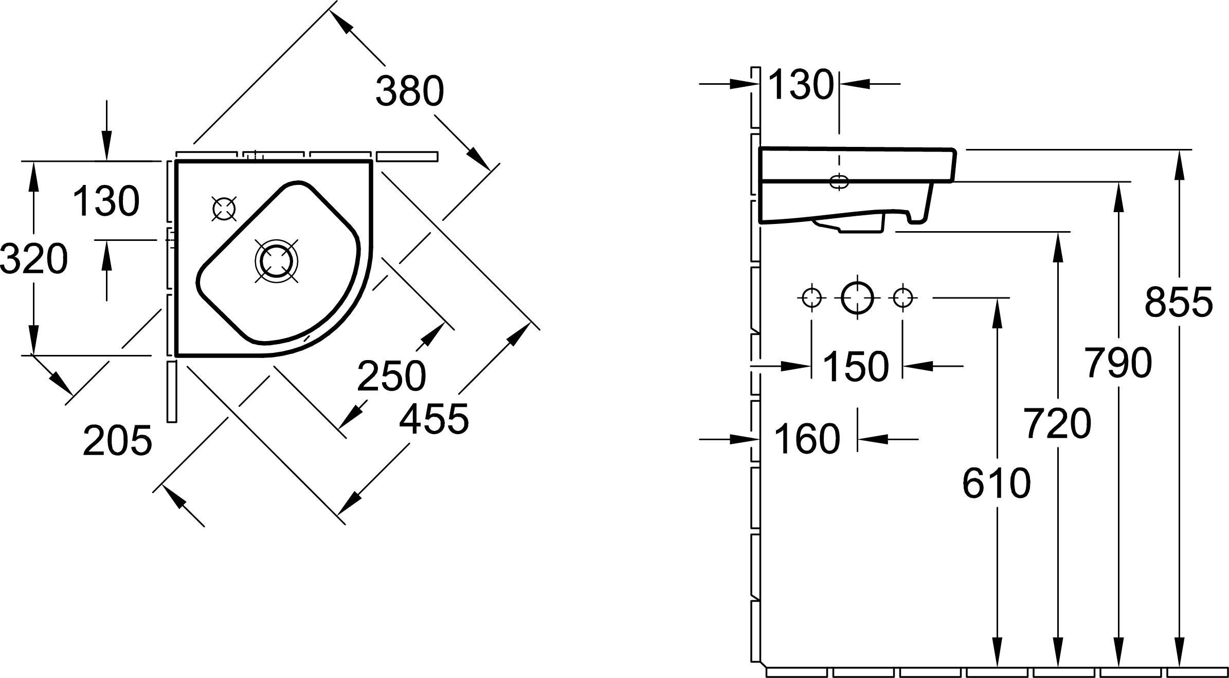 Architectura Compact Corner Basin
