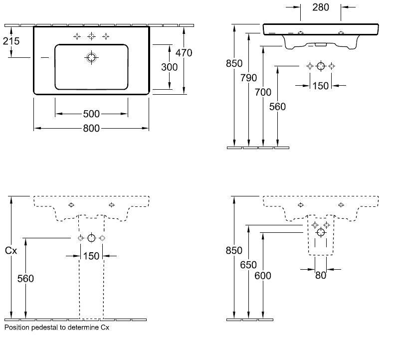 Subway Single Vanity Basin – 800 x 470mm