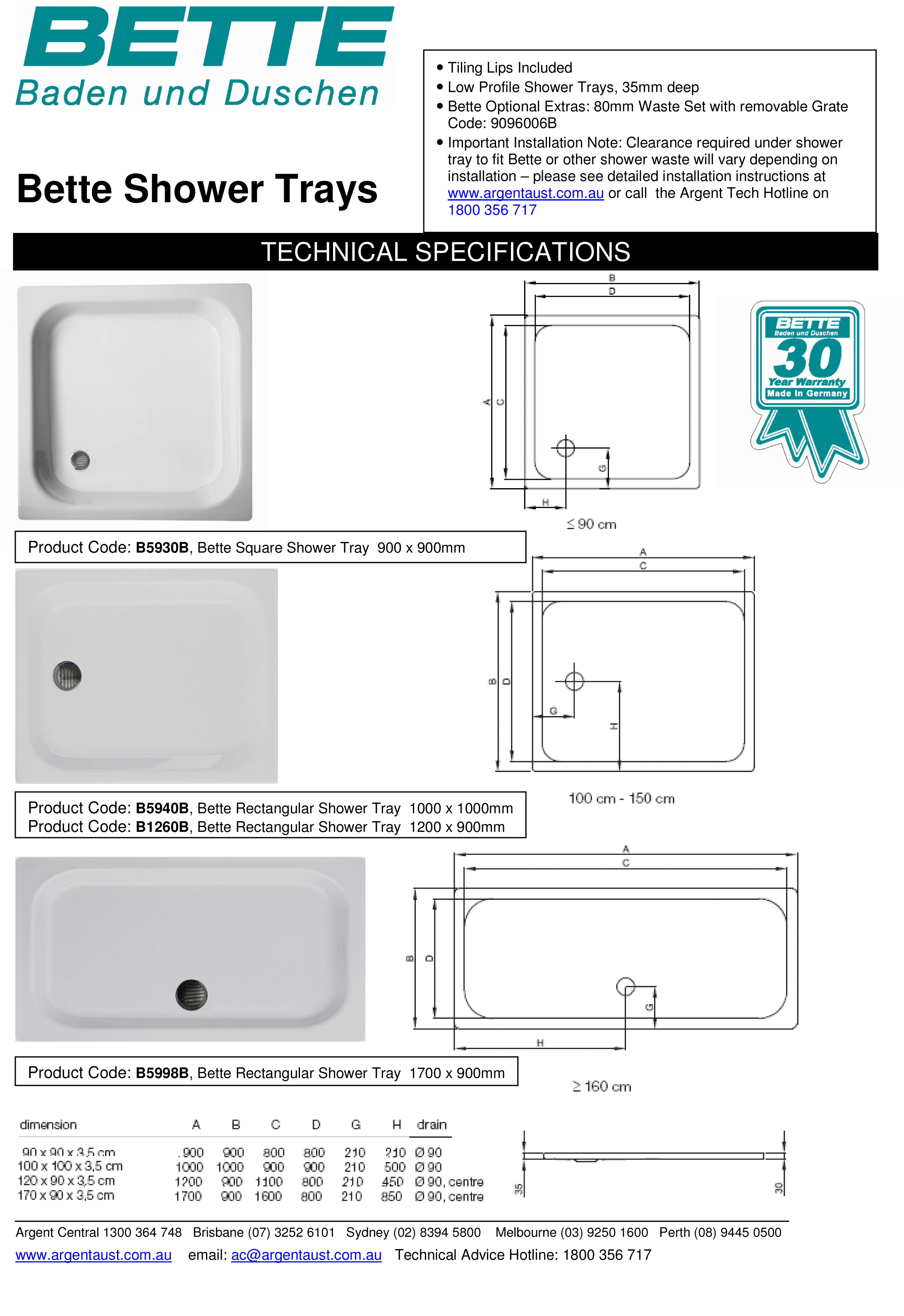 Bette 900 Square Shower Tray