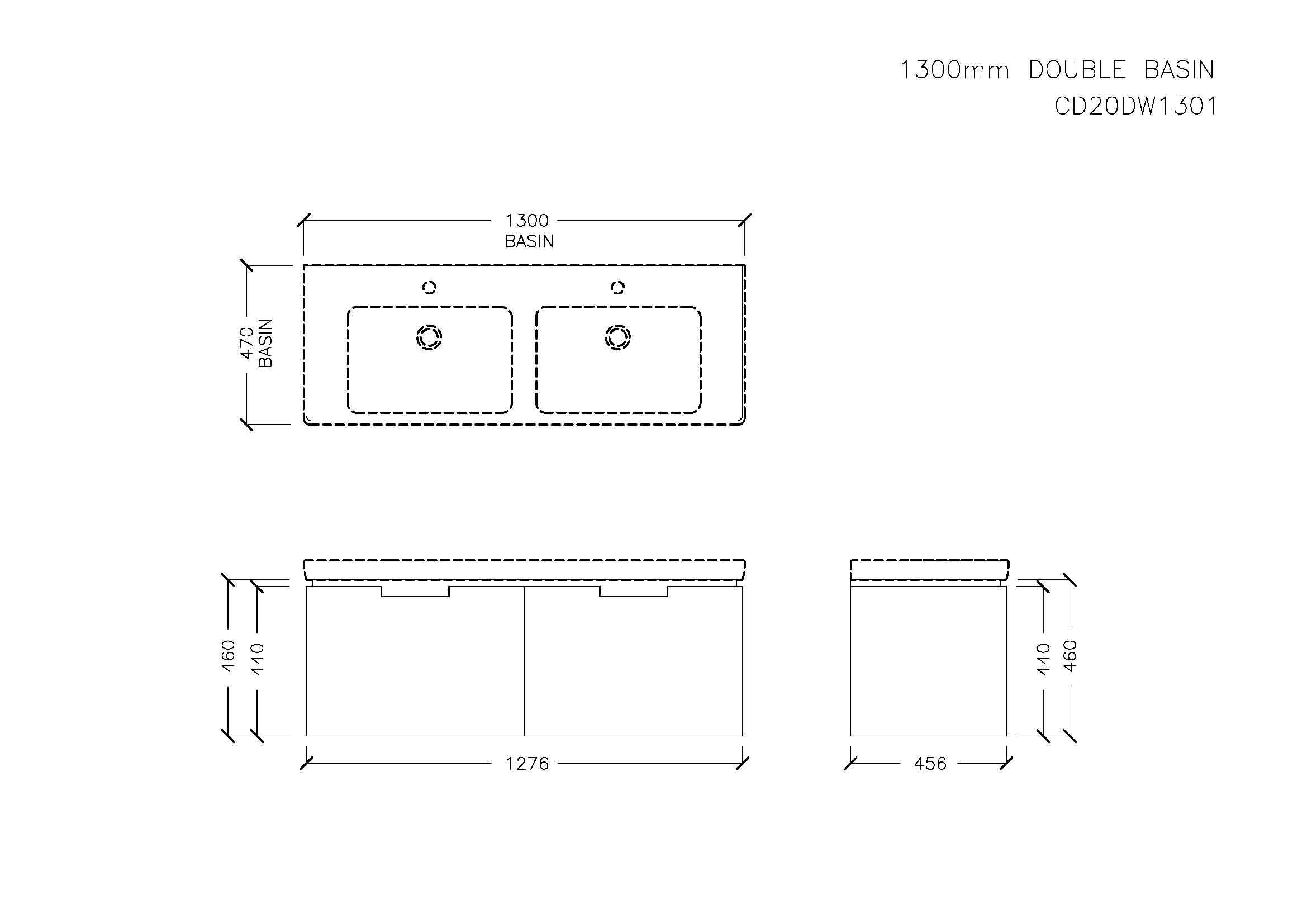 Centra 1300 Wall-Hung with Drawers (Double Bowl)
