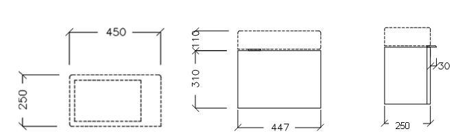 Edo Wall Hung Cabinet H310 x W447 x D250mm