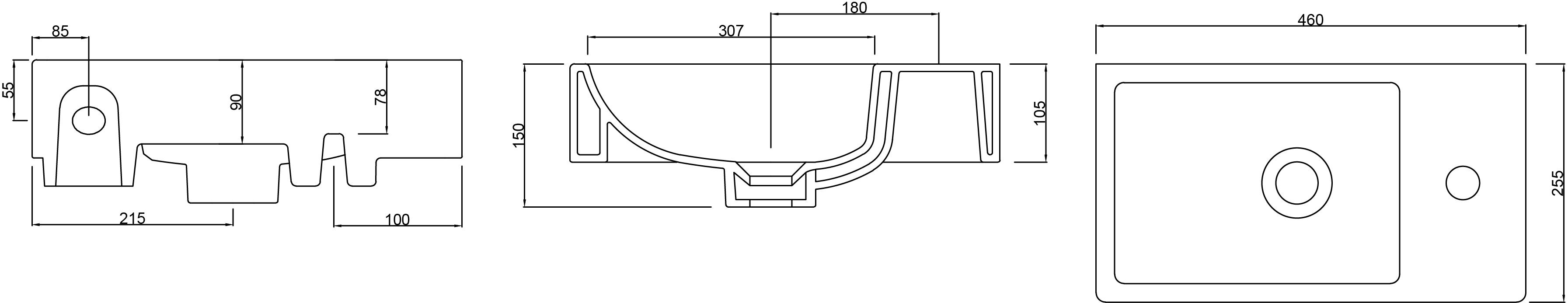 Mode Small Wall Mounted Basin