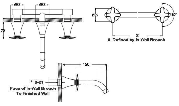Flow Bath Set - Wall Mounted