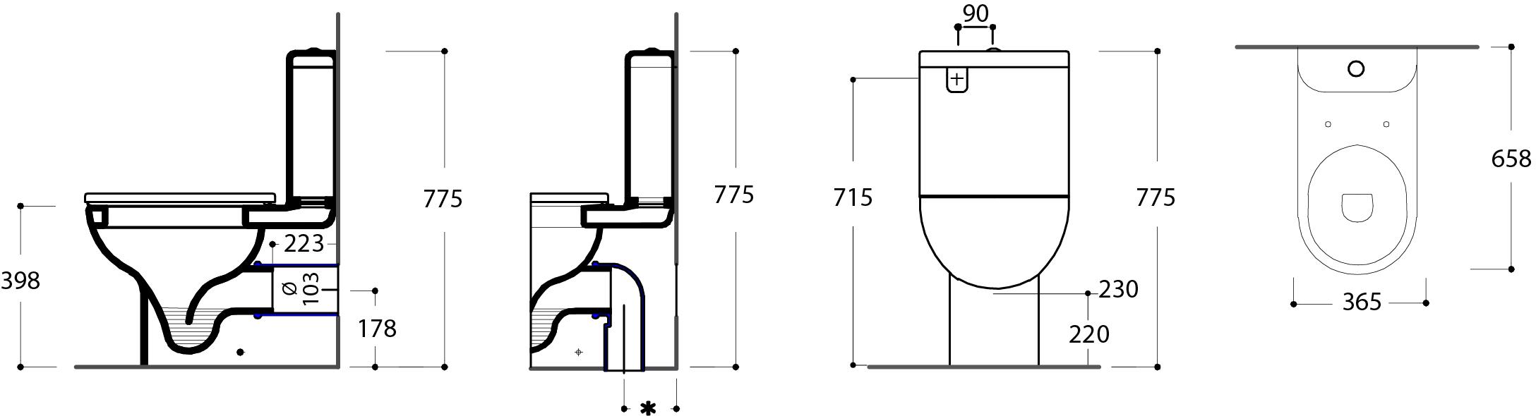 Azure BTW Toilet Suite