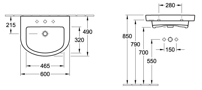 Subway Hand Wash Basin - 600 x 490mm