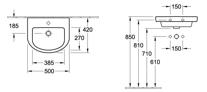 Subway Hand Wash Basin - 500 x 420mm