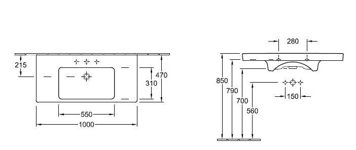 Subway Vanity Basin 1000 x 470mm, 1 tap hole