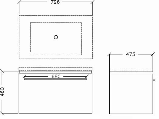 Trend 800mm Wall Hung Vanity w/Internal Drawer