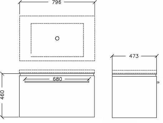 Trend 800mm Wall Hung Vanity w/Internal Drawer