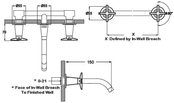 HansaTwist Bath Set - Wall Mounted