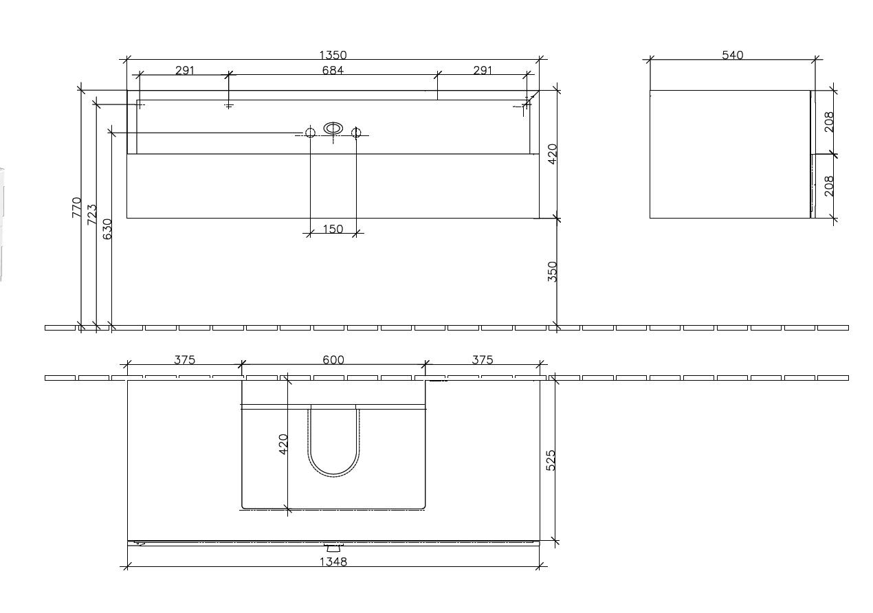 La Belle Cabinet 1350 Gloss White 2 Drawer
