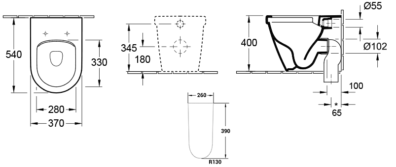 Architectura DirectFlush Wall-Face Toilet Suite w/Slim Seat