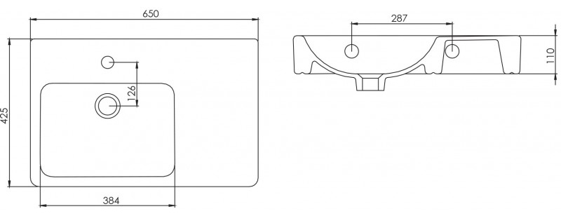 Evo Asymmetric Wall Basin - Left