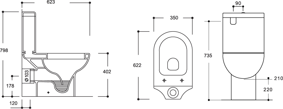 Mode Close Coupled Toilet Suite P-Trap