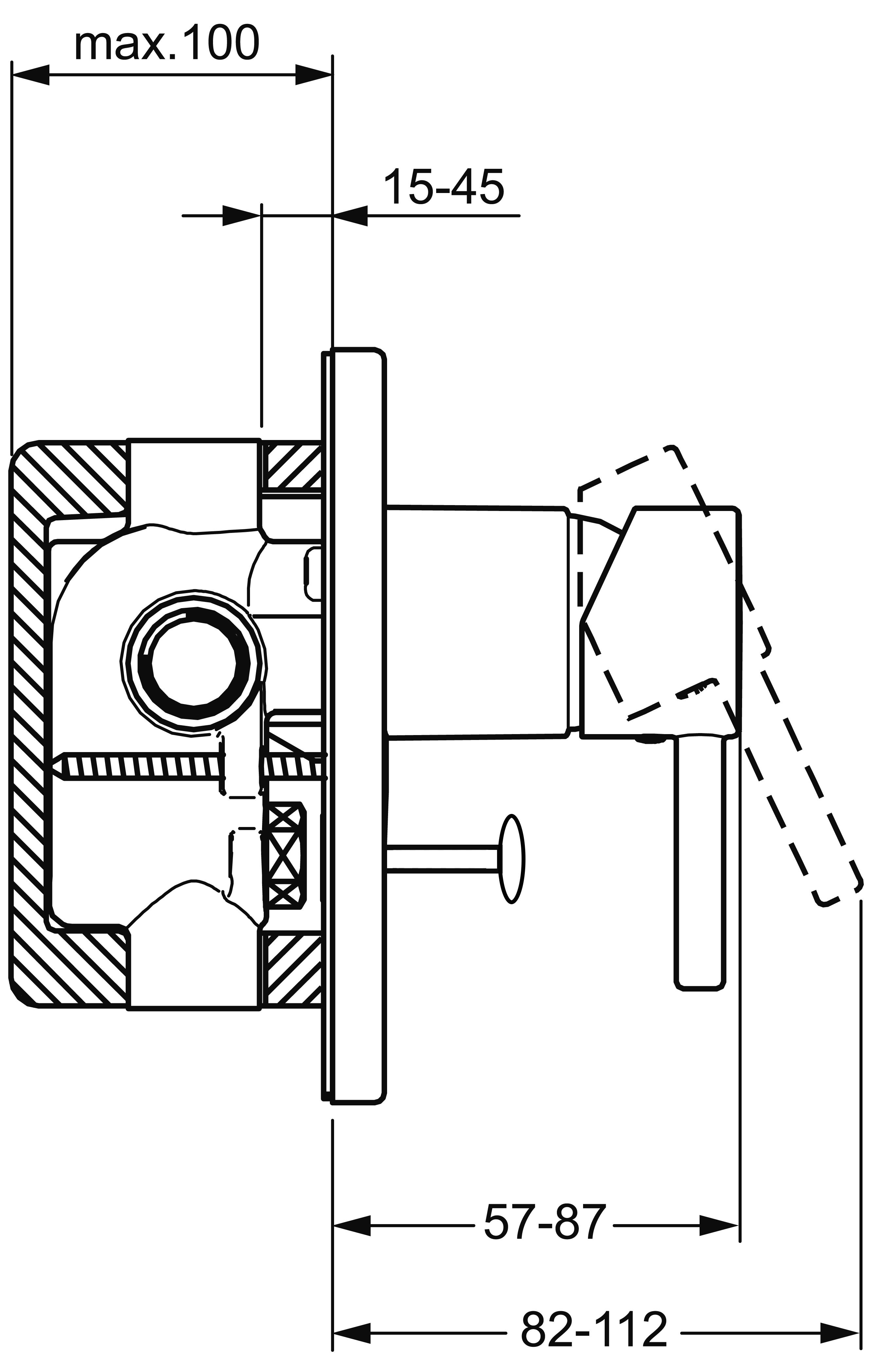 HansaVantis Pin Oval Diverter Mixer Trim