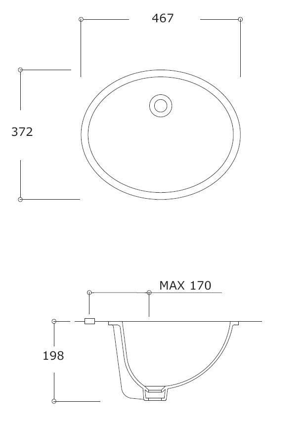 Azure Oval Under-Counter Basin