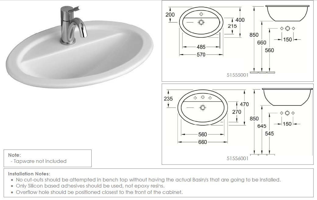 Loop Oval Drop-In Basin with Tap Shelf 570mm