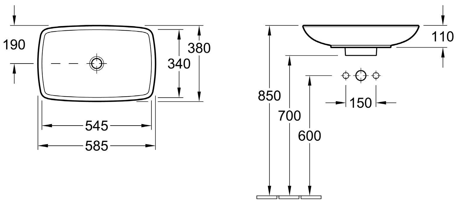 Loop Vessel Basin - Rectangular Low Profile