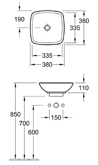 Loop Vessel Basin - Square Low Profile