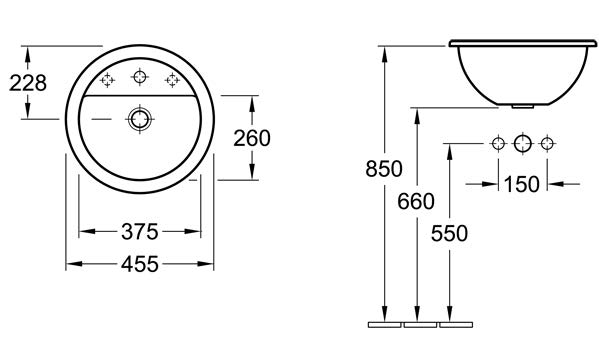 Loop Round Drop-In Basin with Tap Shelf 455mm