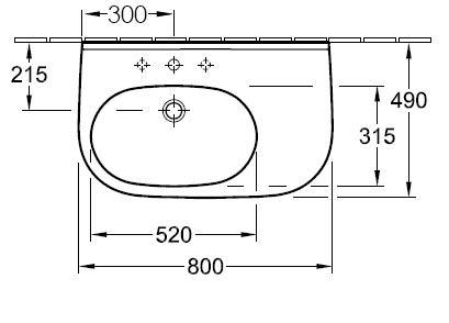 O.novo compact w/ basin 55 x 37cm 1th