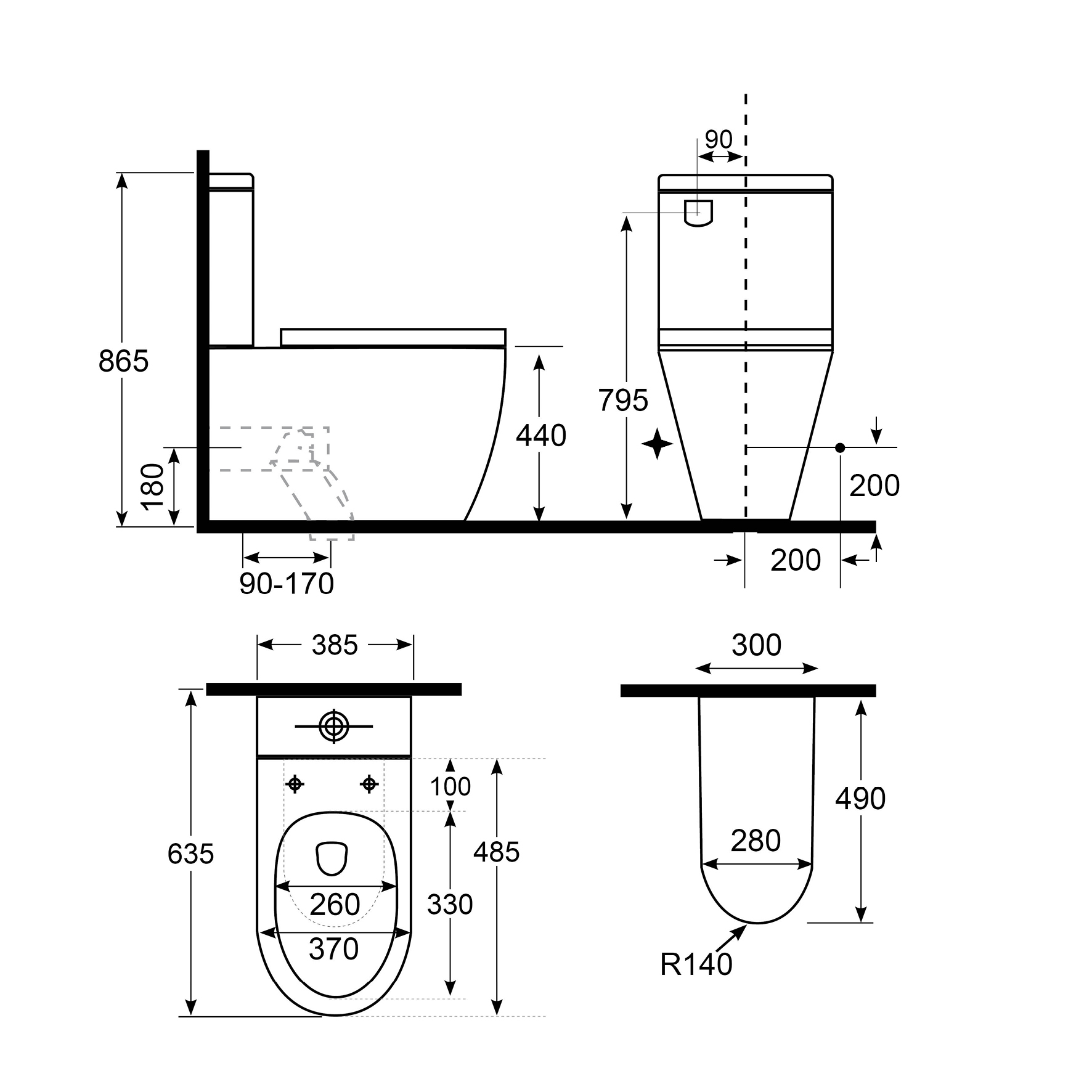 Vista Comfort Height Back To Wall Toilet