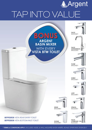 Argent Vista BTW with bonus Argent Basin Mixer - Luxury