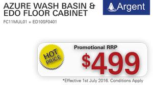 Argent Azure Wash Basin & Edo Floor Cabinet PRRP