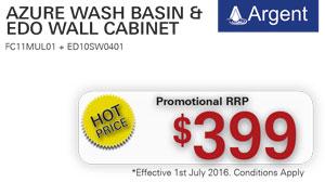 Argent Azure Wash Basin & Edo Wall Cabinet PRRP