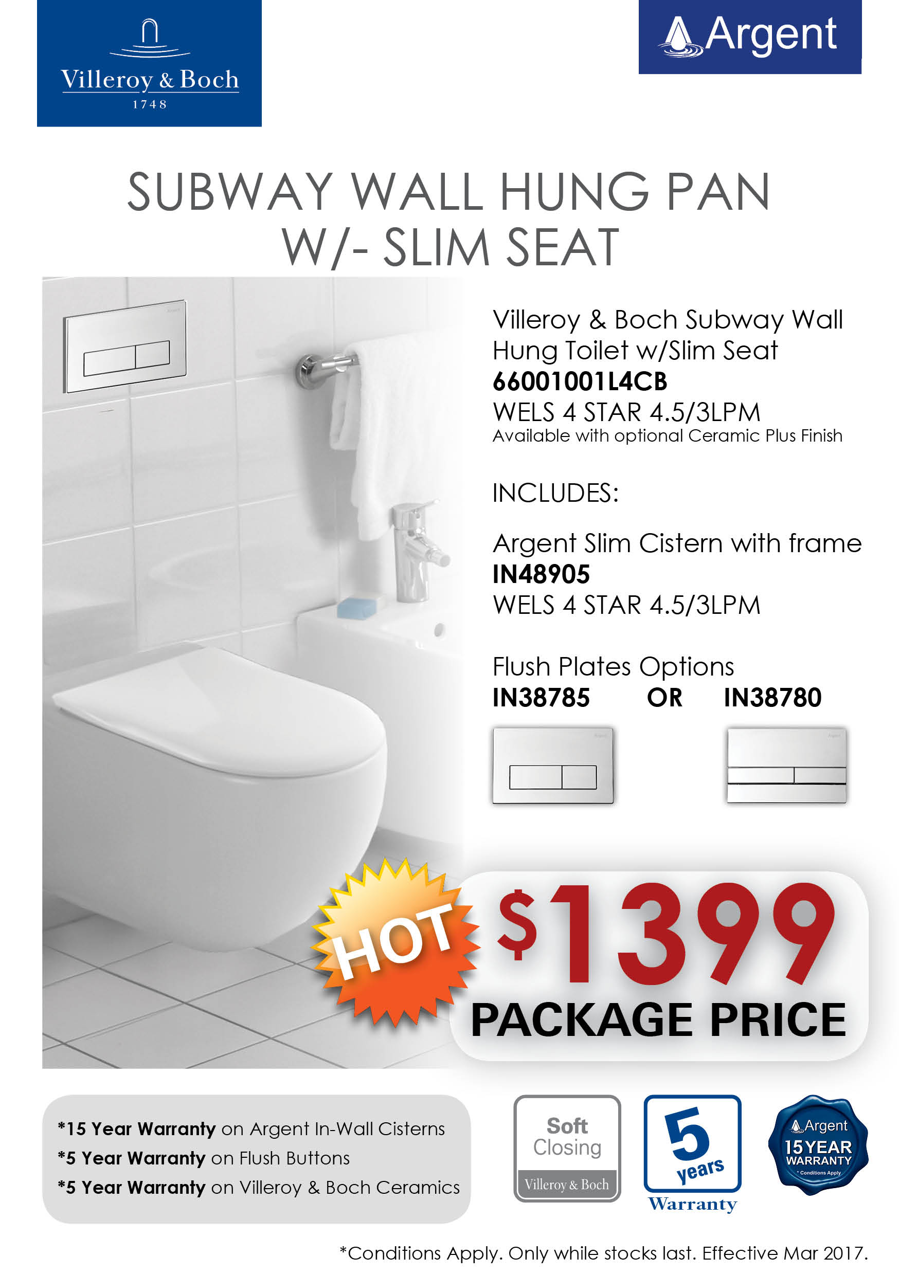 V&B SUBWAY WH Slim Seat Toilet PRRP
