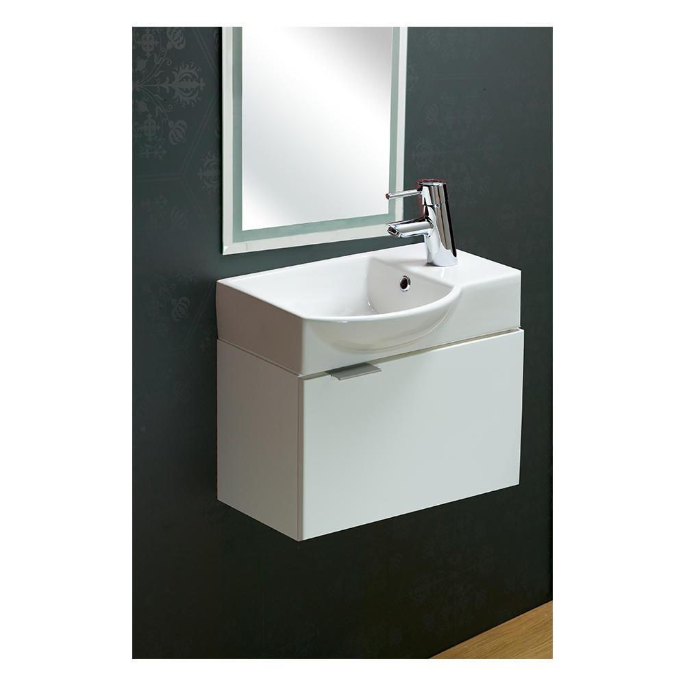 Azure 460 Hand Wash Basin With Edo Wall Cabinet Argent